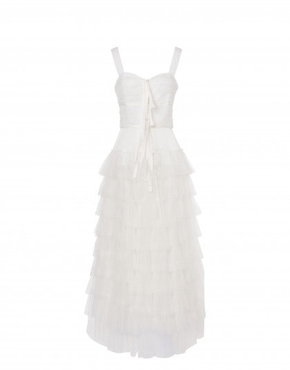 Tulle dress with flounces