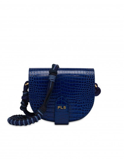 Moon bag in crocodile-print calfskin